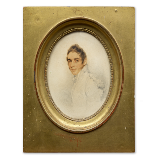 Portrait miniature of a Royal Navy Officer of the rank of Commander, wearing a uniform coatee with an epaulette prominently shown on the left shoulder, c.1805