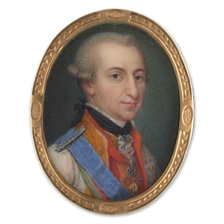 Ercole III, Duke of Modena (1727-1803) wearing gold embroidered jacket, Order of the Golden Fleece, sash of the Royal Hungarian Order of St. Stephen, another sash and breast star, his powdered wig worn en queue and tied with black ribbon