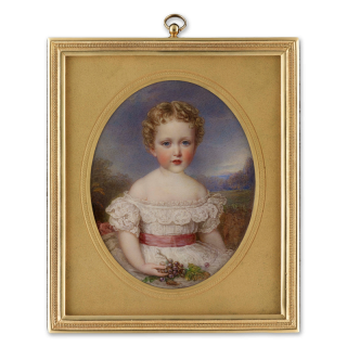 Portrait miniature of Prince Albert of Schleswig-Holstein (1869-1931) as a child, seated, wearing frilled white dress with pink sash, a bunch of grapes held in his right hand, c.1871