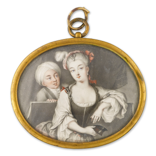 Portrait miniature of a Noblewoman, seated in costume (possibly as the goddess Diana), holding a mask, a crescent jewel in her powdered hair, a male admirer in a turban behind, c.1720