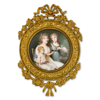 Portrait miniature of Marie Anne Marguerite, Comtesse de la Rochefoucauld (née Chéry) (1767-1849), seated, with her two children, Louise Alexandrine (b.1790) holding a portrait miniature of her father, and Henriette Marie (b.1797) on her mother's lap