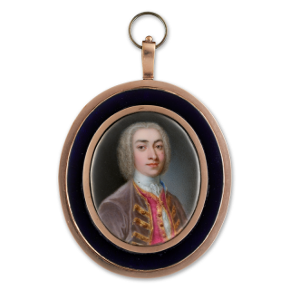Portrait enamel of a Gentleman, wearing a mauve velvet jacket with gold frogging, scarlet waistcoat with gold trim and white lace shirt, his hair bewigged and powdered