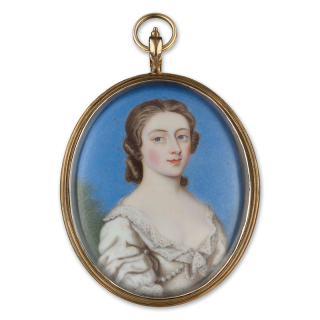 Portrait enamel of a Lady, wearing white dress with lace frill and pearls, landscape background