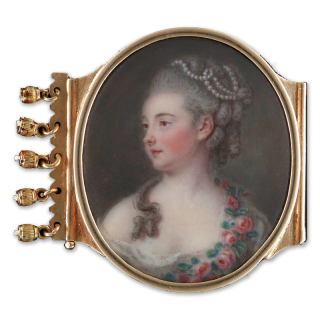 Portrait enamel of Michelle Guesnon de Bonneuil (née Sentuary) (1748-1829), wearing white gown with pink roses draped across her shoulder, her hair curled and powdered and decorated with pearls, c.1773