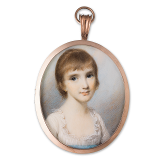 Portrait miniature of a Young Girl, wearing white dress with frilled neckline and blue sash and gold hoop earrings