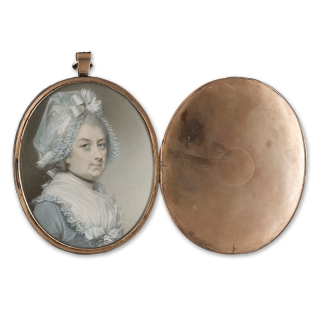 Portrait miniature of Mrs. Elizabeth Theobald (c.1725-96), wearing grey dress with white lace trim and a white bonnet
