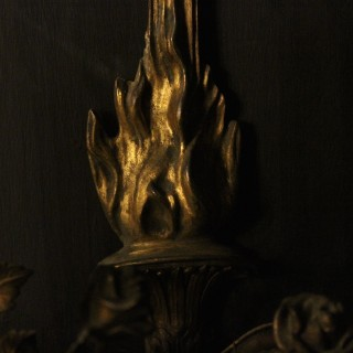 English Pair Of Bronze Antique Wall Sconces