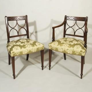 A Set of Six Sheraton Period 18th Century Mahogany Dining Chairs