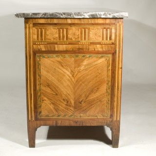 An impressive late 18th century Lombardy three drawer walnut commode