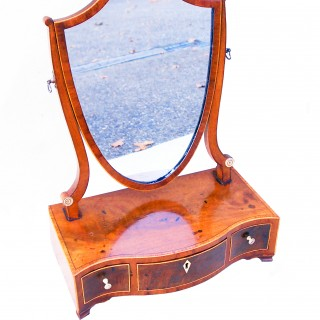 Antique Small Mahogany Serpentine Dressing Table Mirror