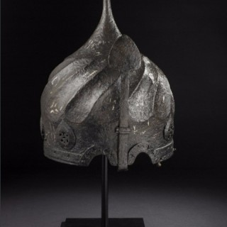 AN EARLY OTTOMAN SILVER INLAD 'TURBAN' HELMET, LATE 15TH CENTURY