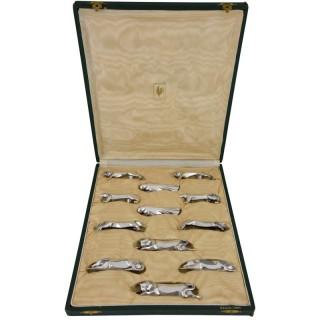 Set Of 12 Art Deco Animal Knife Rests In Case