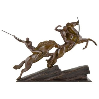Impressive bronze Art Deco group, archers on horses, 1930