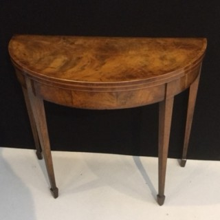 George III mahogany demi-lune card table