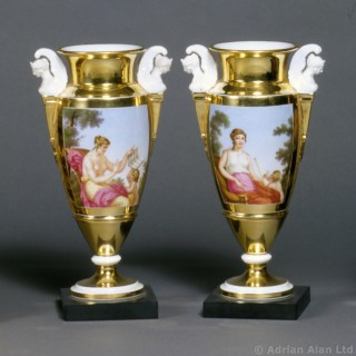 Pair of Gold Ground Porcelain Vases
