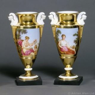Pair of Gold Ground Porcelain Vases