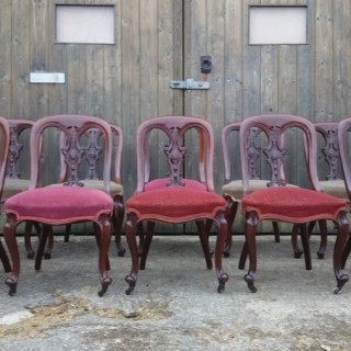 Set of Ten Large and Comfortable Victorian Antique Dining Chairs By John Reid and Sons