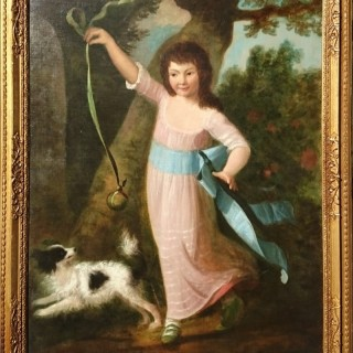 Fine And Early Antique Regency Or Georgian Oil Paiting Depicting Arisocratic Child With Her Dog