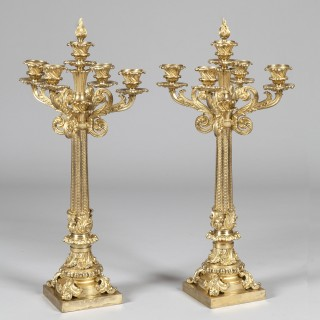 Pair of Gilt Bronze Candelabra of the William IV Period