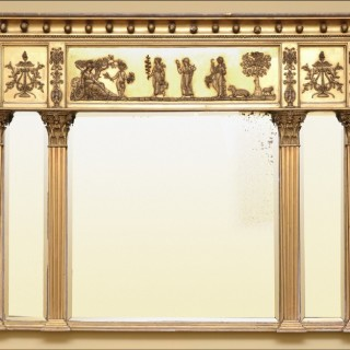 A fine Regency period gilded wood and gesso triptych overmantle mirror