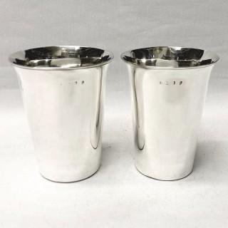 Pair of Large Georgian Silver Beakers