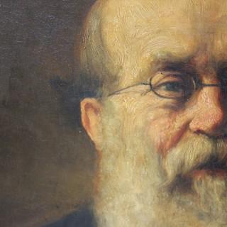 Ambrose Dudley; A Large English School c.1891 Gilt Framed Oil on Canvas Portrait of John Harrison Foster 1818-1905