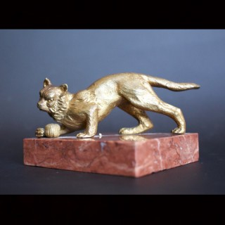 Art Deco Bronze Cat