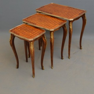 French Kingwood and Mahogany Nest of Tables