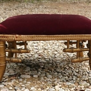 Miniature Antique Gilt Stool Simulated Bamboo In The Manner Of Brighton Pavillion
