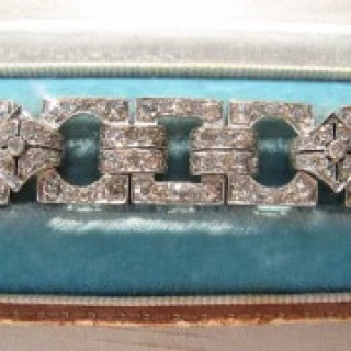 Vintage 1940's Platinum Diamond Panel Bracelet