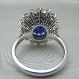 Velvet Blue Sapphire and Diamond Cluster Ring