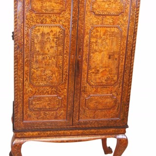 Antique Early 19th Century Chinese Export Lacquer Cabinet On Stand