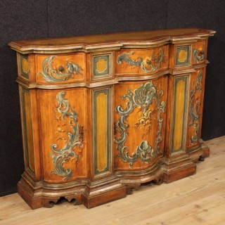 20th Century Venetian Lacquered And Painted Sideboard