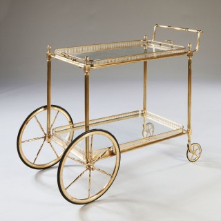 Maison Jansen Polished Brass Drinks Trolley - Bar Cart