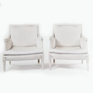 Pair of White Painted Neo Classical Armchairs
