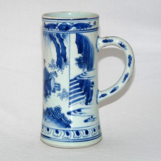 Chinese 17th Century Blue and White Porcelain Tankard