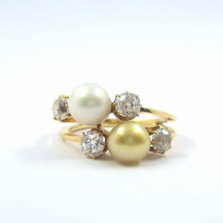 A stunning Victorian natural saltwater pearl & diamond crossover ring