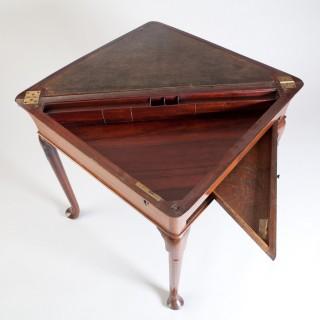 GEORGE II MAHOGANY ENVELOPE WRITING TABLE