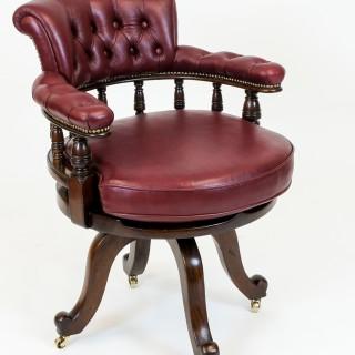 Antique Mahogany Swivel Seat Desk Chair