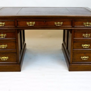 Antique Red Walnut Pedestal Desk by Waring and Gillow