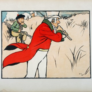 Cecil Aldin Golfing Lithograph