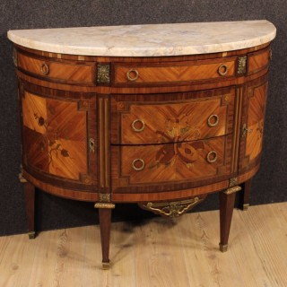 Early 20th Century French Inlaid Demi Lune Dresser