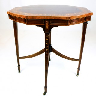 Antique Mahogany and Marquetry Octagonal Center Table