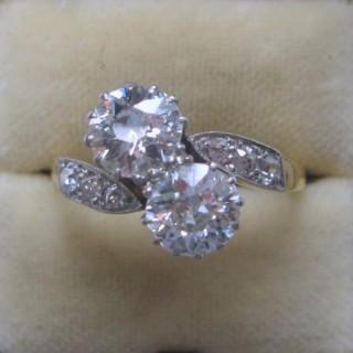 Two Stone Art Deco Diamond Cross Over Ring