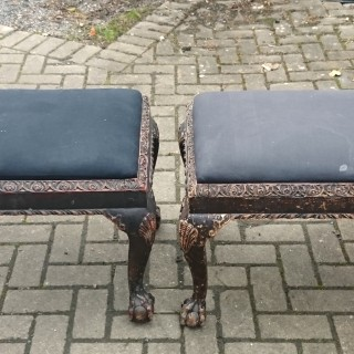 Antique Pair Of Victorian Carved Stools Standing On Cabriole Legs Rusticated In The 17th Century Manner