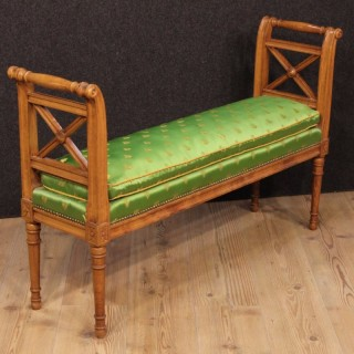 20th Century French Bench With Fabric Cushion