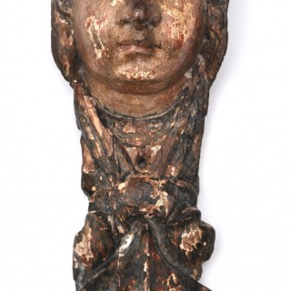 17th century French carved oak head