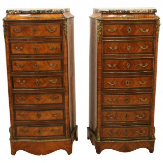 Pair of French Ormolu Serpentine Secretaire Chests