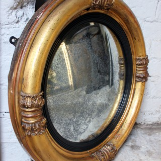 A Good Regency Period Giltwood & Gesso Convex Wall Mirror c.1825