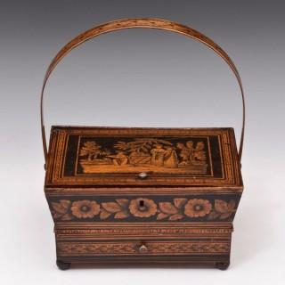 Regency Period Penwork Sewing Basket